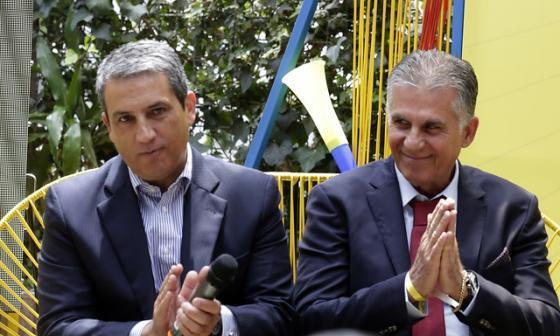 Fernando Jaramillo junto al técnico de la Selección Colombia, Carlos Queiroz.