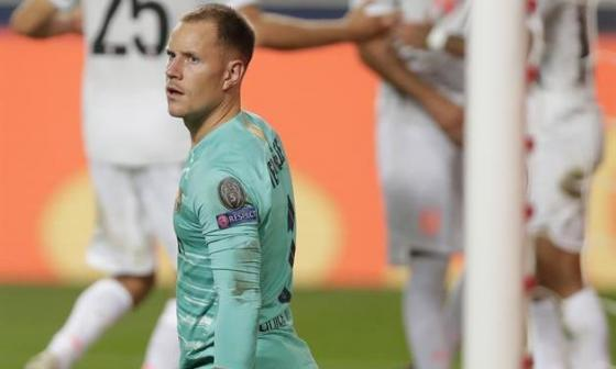 Ter Stegen durante la goleada que sufrió el Barcelona 8-2 frente al Bayern.