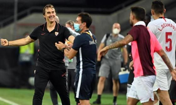 Lopetegui celebrando luego de eliminar al Manchester United en la semifinal de la Liga de Europa.