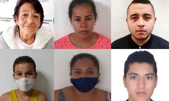 Capturados, de izq a der: Evidia Gómez, Angy Gómez, Jhonatan Ríos, Diosneydi Contreras, María Medina y Juan David Villa.