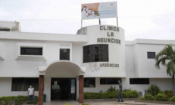 Fachada de la Clínica La Asunción ubicada en el norte de Barranquilla.