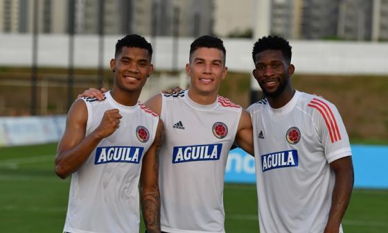 Wilmar Barrios, Mateus Uribe y Jefferson Lerma, tres de las alternativas que tiene Queiroz para el mediocampo.