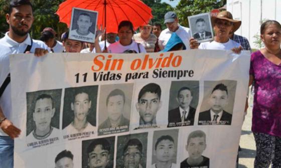 Familiares de 11 víctimas de 'falsos positivos' en Toluviejo.