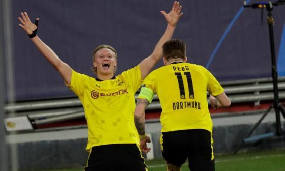 Haaland lidera al Dortmund en el primer paso hacia cuartos de Champions
