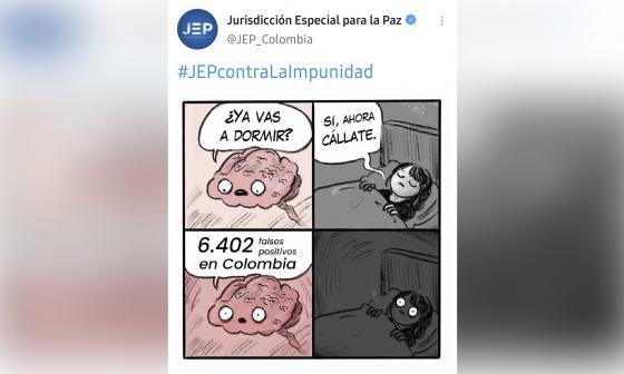 JEP rechaza publicación de meme sobre falsos positivos en su Twitter