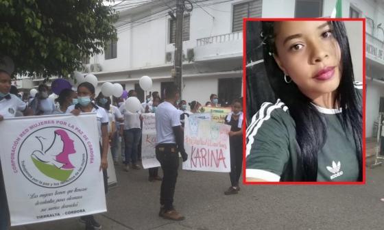 En Tierralta marcharon para rechazar el asesinato de la enfermera Karina