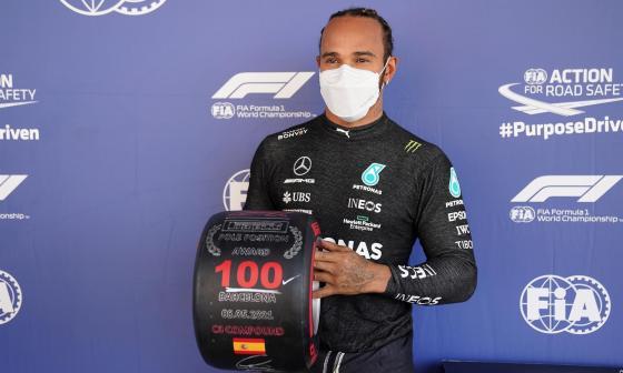 Lewis Hamilton logra su 'pole'  número 100