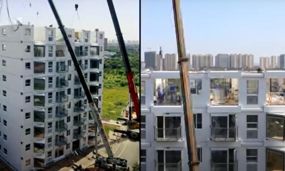 'Edificio Viviente': así se construyó una edificación de 10 pisos en menos de 29 horas en China.