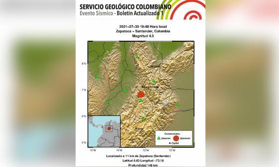 Sismo de magnitud 4.3 sacudió a Santander este viernes