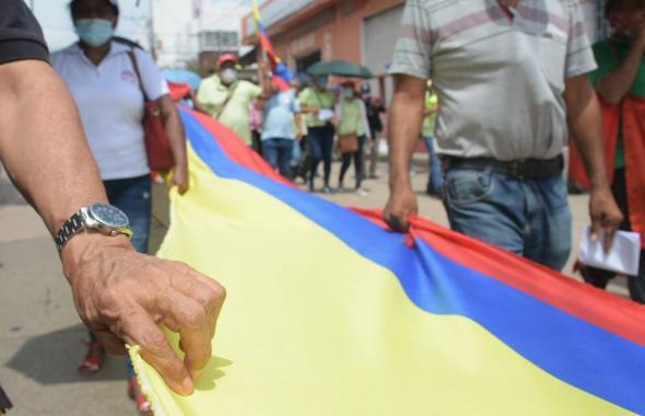 En imágenes   Así avanza la marcha de las centrales obreras en Barranquilla
