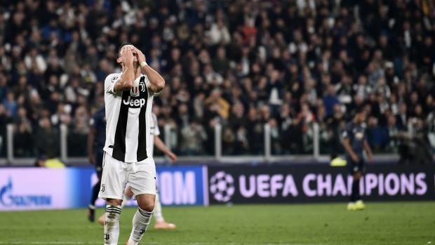 Cristiano Ronaldo durante la derrota de la Juventus ante Manchester United por Uefa Champions League.