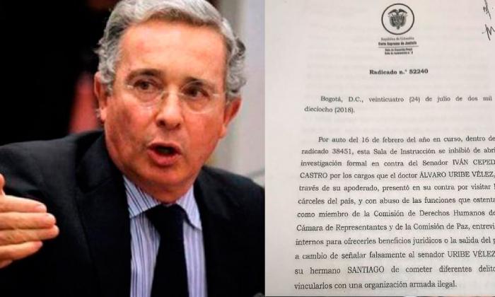 Lea aquí el documento por medio del cual la Corte llamó a indagatoria a Uribe Vélez