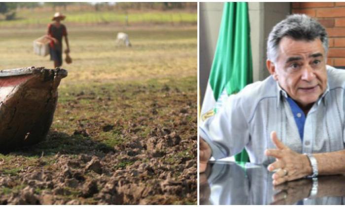 Doña Ana, en Sucre, una de las zonas más afectados por la sequía. En la siguiente imagen, el gobernador de Sucre, Édgar Martínez.