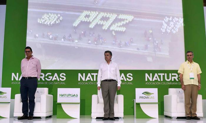 El presidente Santos en el congreso de Naturgas en Cartagena.
