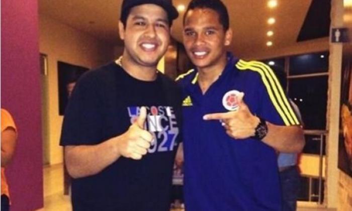 Martín Elías y Carlos Bacca en una concentración de la Selección Colombia en Barranquilla.