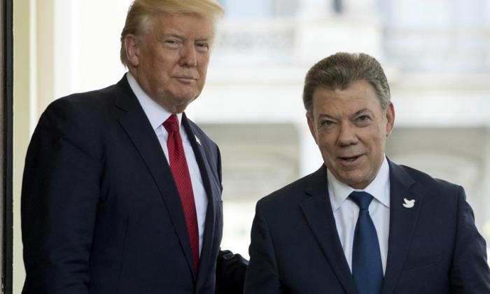 Donald Trump y Juan Manuel Santos, reunidos en la Casa Blanca.