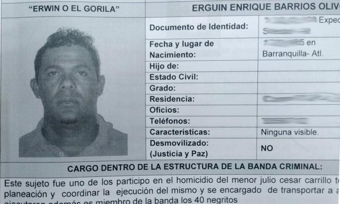 Imputan cargos a alias el Gorila, de 'los 40 Negritos'