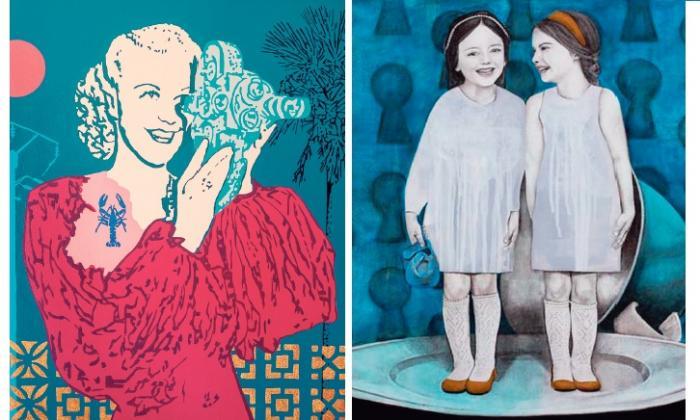 Obra de Rafael Barón y cuadro de Giselle Borrás.