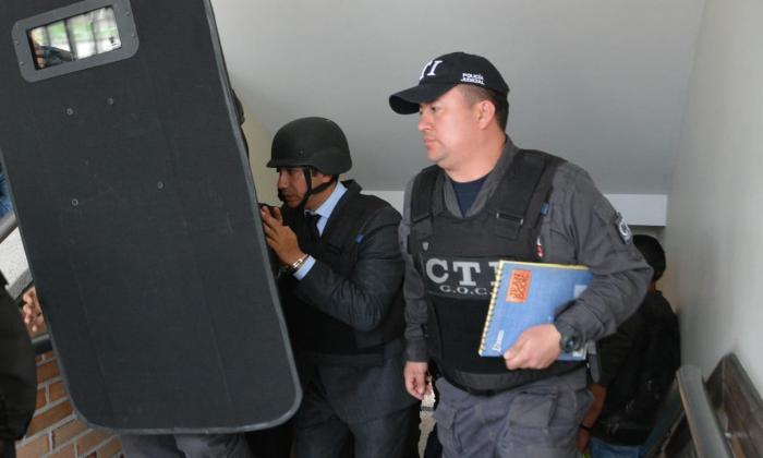 El exfiscal Moreno a su arribo a los juzgados de Paloquemao, en Bogotá.