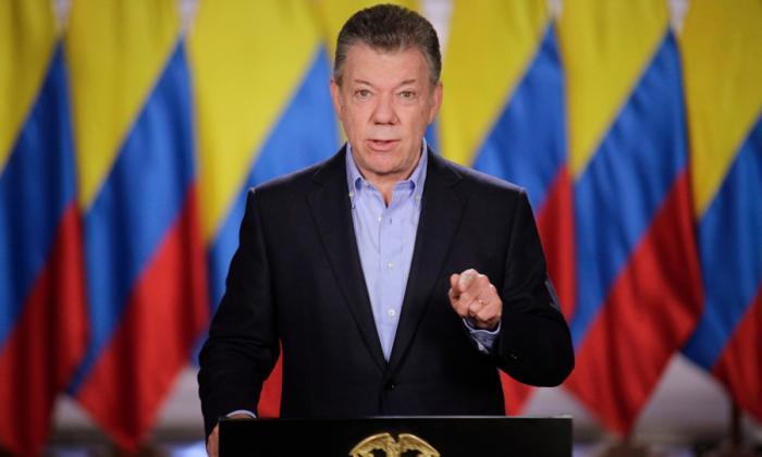 Juan Manuel Santos durante la alocución presidencial.