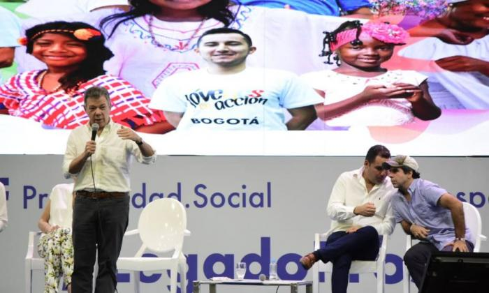El presidente Juan Manuel Santos durante el evento.