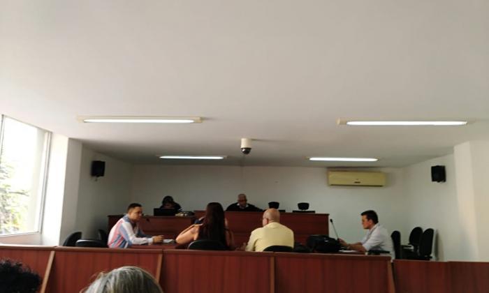 Aspecto de la diligencia desarrollada en la tarde de hoy en el Tribunal Superior de Barranquilla.