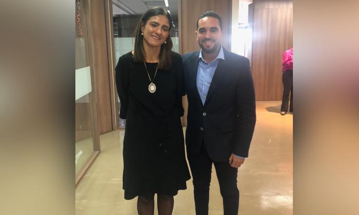 La ministra de Transporte, Ángela María Orozco y el director del Instituto Municipal de Tránsito de Soledad, Alfredo Burgos.