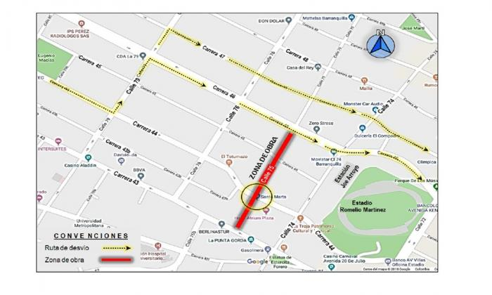 Ubicación del cierre total en la calle 75 con cra. 44.