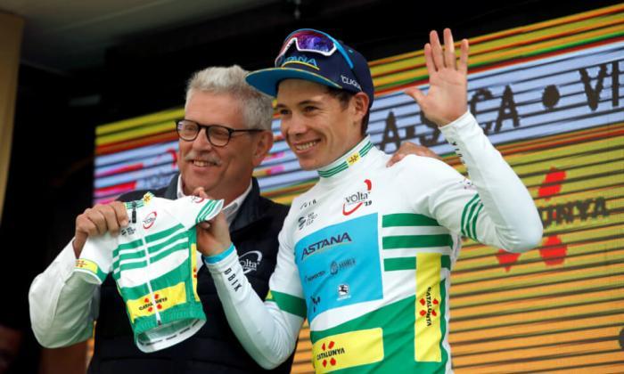 El ciclista colombiano Miguel Ángel López, líder de la Vuelta a Cataluña.