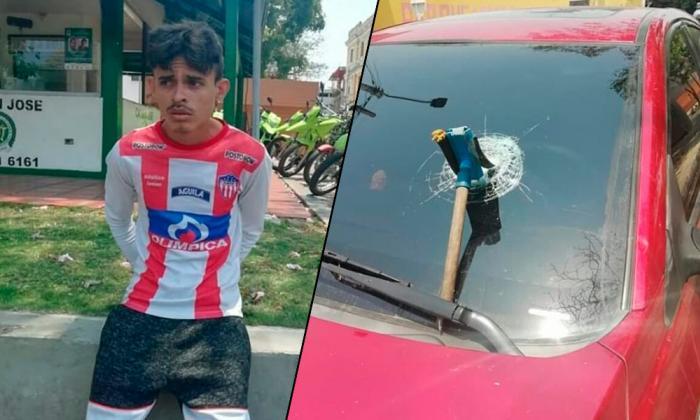 Jairo Daniel Pérez González, el capturado. En la siguiente foto, el estado en que dejó el vidrio panorámico.