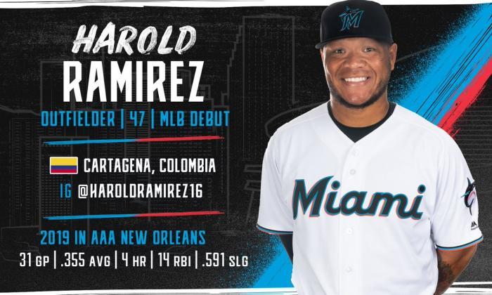 Harold Ramírez despacha sencillo en su debut con Marlins