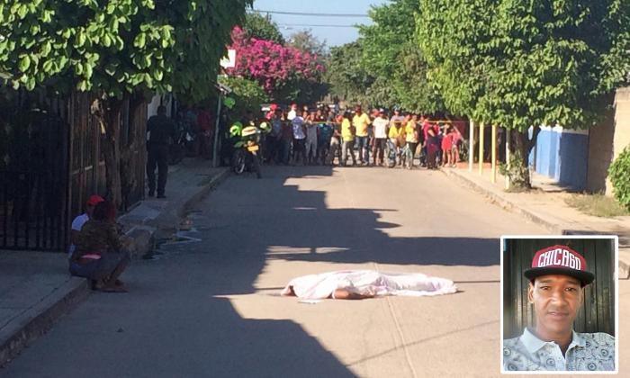 El cuerpo de Alejandro Elvis Jaspe Hernández quedó tendido en la mitad de la calle. En el recuadro, su foto.