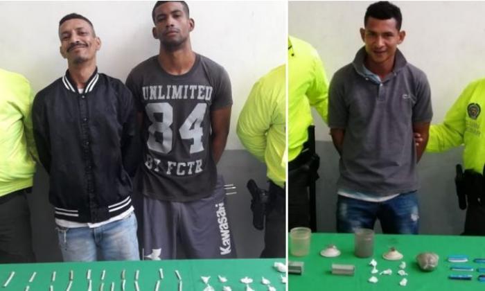 Los tres capturados por expender drogas en el suroccidente de Barranquilla.