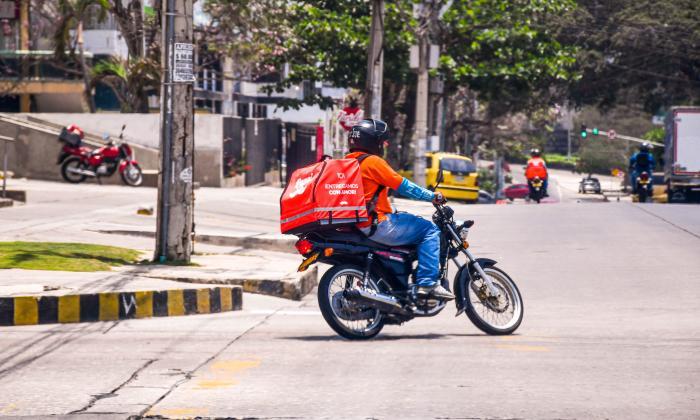 Un repartidor de Rappi en Barranquilla.