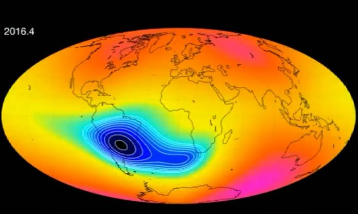 Simulación del aspecto del campo magnético de la Tierra.