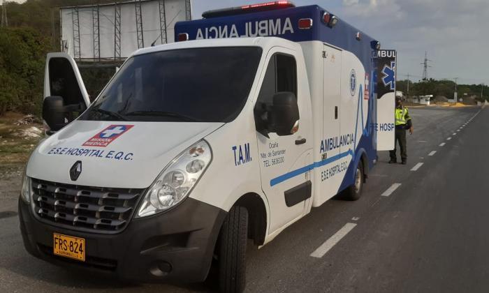 Ambulancia en donde era transportada la droga.
