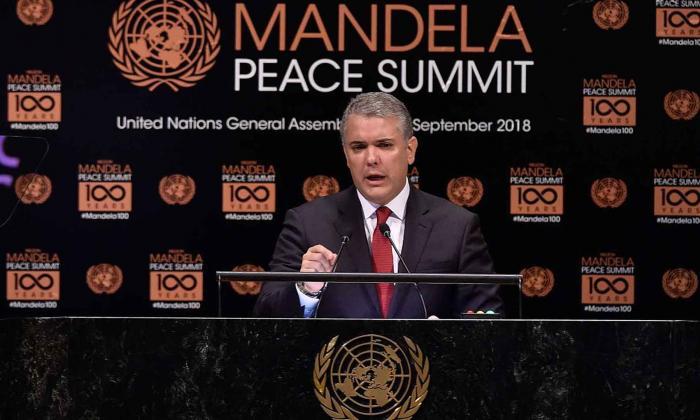 El presidente Iván Duque durante su intervención en la Cumbre de Paz Nelson Mandela en 2018.