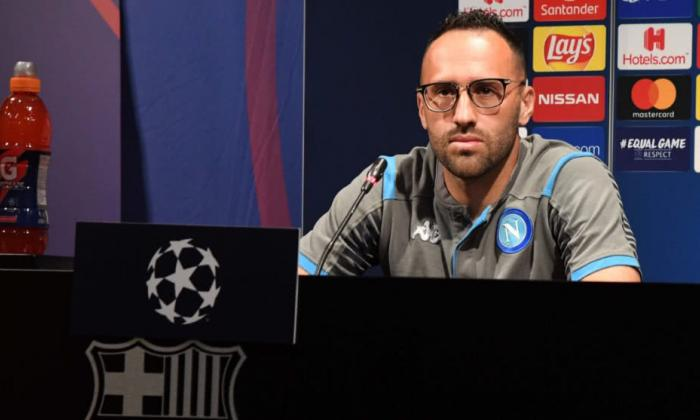 El colombiano David Ospina durante la rueda de prensa previa al duelo ante el Barcelona.