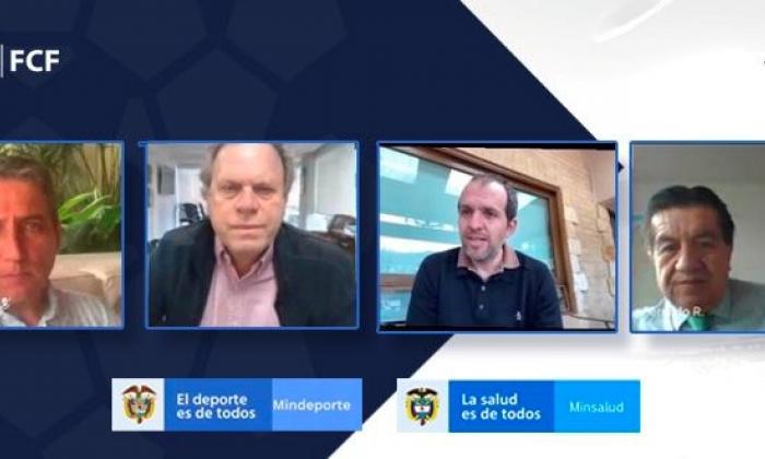 Fernando Jaramillo, Ramón Jesurun, Ernesto Lucena y Fernando Ruiz durante la reunión telemática que sostuvieron el martes.