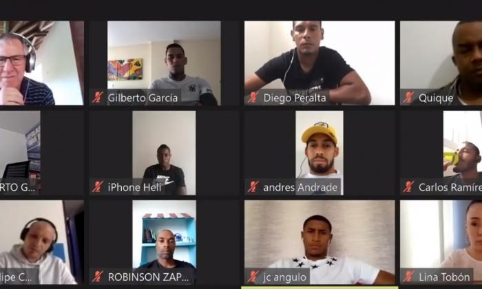 La rueda de prensa virtual concedida por los capitanes de los equipos del fútbol profesional colombiano.