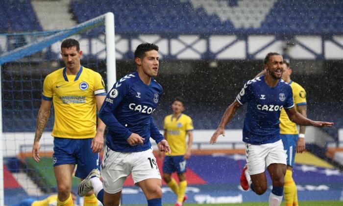 En video   Los goles de Yerry Mina y James Rodríguez en el triunfo de Everton