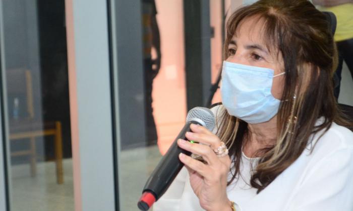 Lourdes López durante la sesión de ayer.