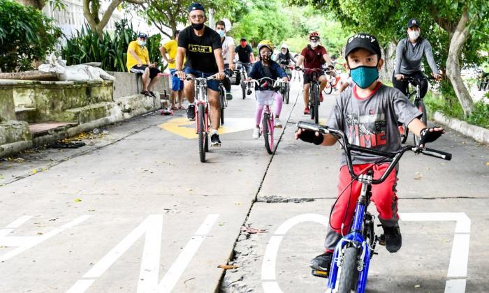 Niños y adultos disfrutaron del regreso de las ciclovías dominicales