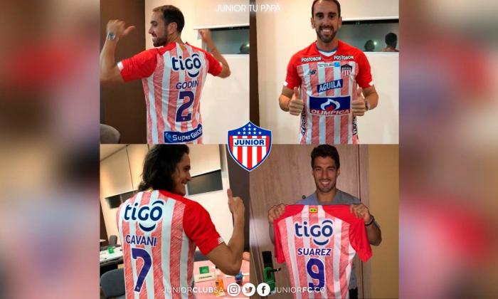Suárez, Cavani y Godín se ponen la rojiblanca del Junior