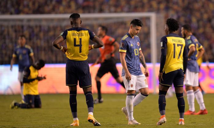 Caras largas y la desazón de haber protagonizado en Quito una de las peores derrotas en la historia de la Selección Colombia.