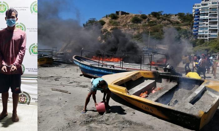 Cayó pirómano que prendió dos canoas en El Rodadero