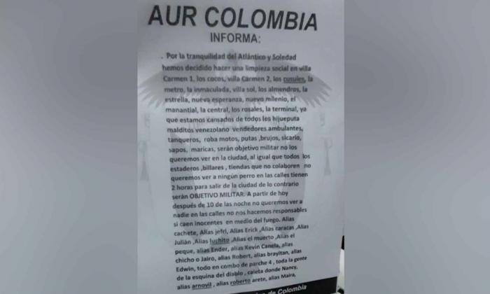 Policía investiga veracidad de panfleto amenazante en Soledad