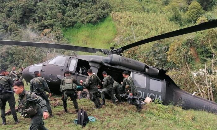 Helicóptero de la Policía aterrizó de emergencia en zona rural de Ituango