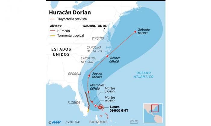 Esta es la trayectoria prevista del huracán Dorian