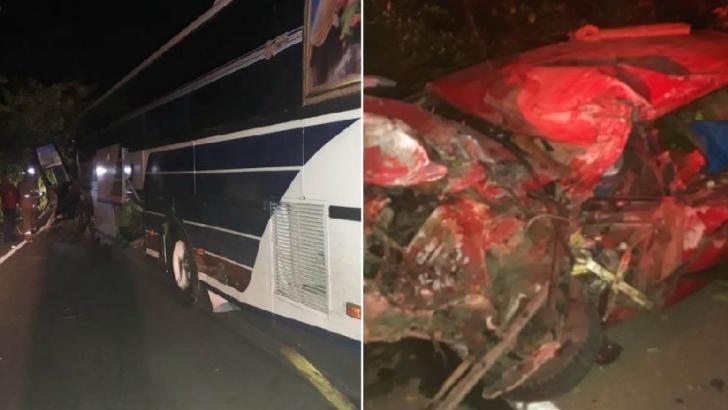 Los vehículos involucrados en el accidente.